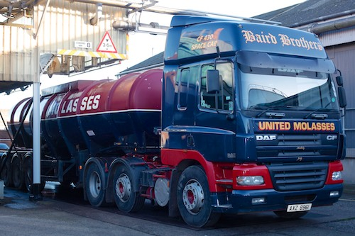 Molasses is delivered on to farms in 10 tonne and 20 tonne loads.